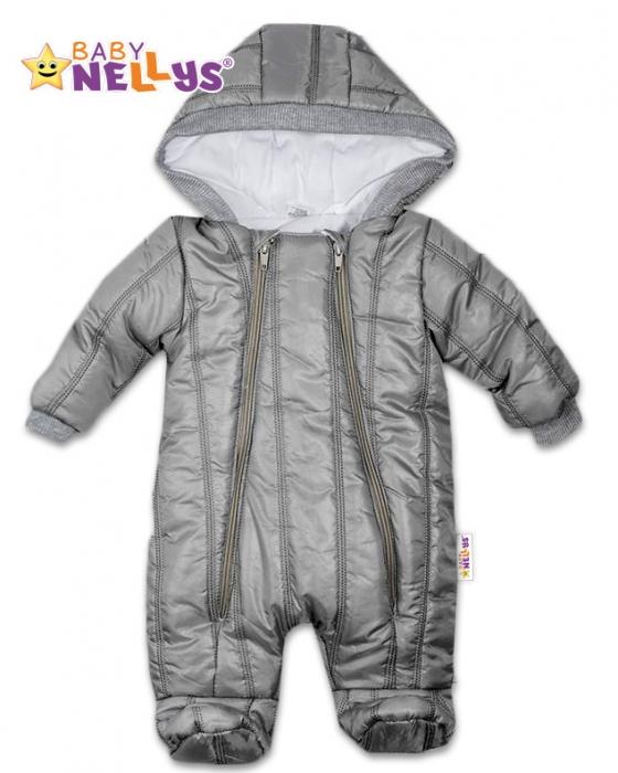 fa38db73b Kombinézka s kapucňu Lux Baby Nellys ®prošívaná - sivý, veľ. 62 ...