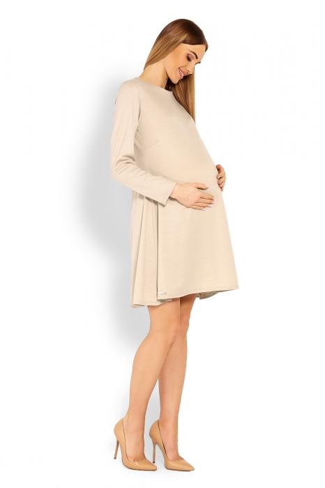 60e5478edec3 Be MaaMaa Elegantné voľné tehotenské šaty dl. rukáv - béžové - Nellys.sk