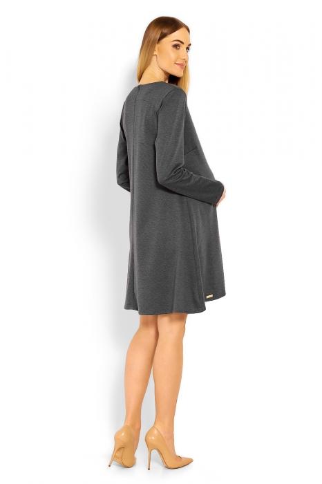 Elegantné voľné tehotenské šaty dl. rukáv - grafit 5a979d48e68
