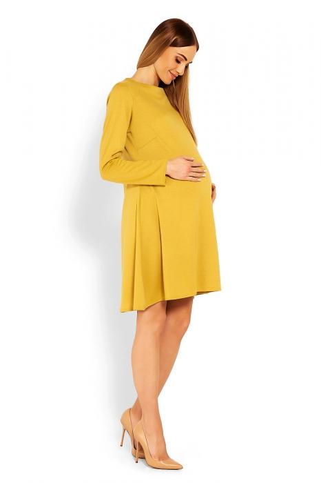 91f33c4f586e Be MaaMaa Elegantné voľné tehotenské šaty dl. rukáv - hořčicová ...