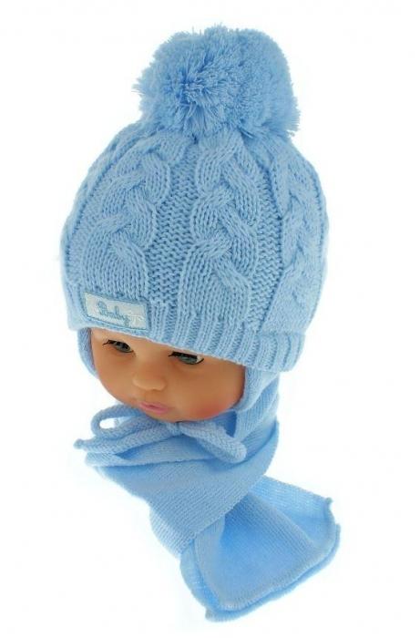 807f27c48 BABY NELLYS Zimná pletená čiapočka s šálom Baby Bear - modrá s ...