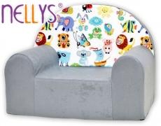 Náhradný poťah na detské kreslo Nellys - Veselá zvieratká v šedej