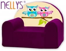 Náhradný poťah na detské kreslo Nellys - sovička Nellys fialové