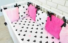 Baby Nellys Vankúšikový mantinel Minky s obliečkami, 135x100 - Mickey, růžová