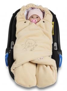 Baby Nellys Detská zavinovačka, fusak polar / bio bavlna - béžová