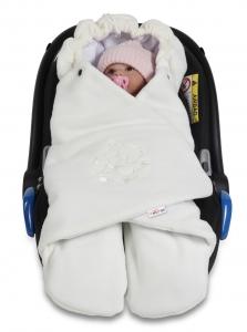 Baby Nellys Detská zavinovačka, fusak polar / bio bavlna - smotana