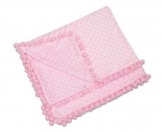 Baby Nellys Luxusná dečka Minky s brmbolcami 100x75cm - ružová/ružové bambuľky