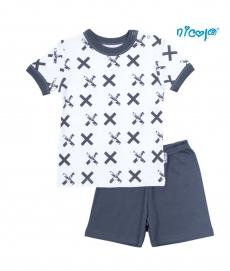 Detské pyžamo krátke Nicol, Rhino - biele/grafit, veľ. 110