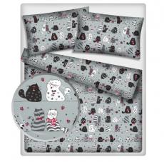 Baby Nellys Bavlněné obliečky 140 x 200/70x90 - mačky - sivé
