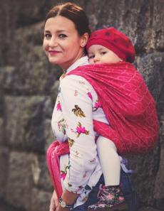 LITTLE FROG Žakárová tkaná šatka na nosenie detí - Red Hourglasses, veľ. XL