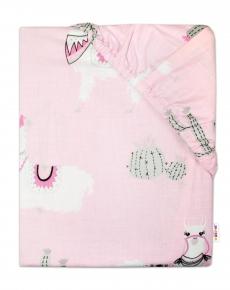Baby Nellys Detské bavlnené prestieradlo do postieľky 140x70 cm - Lama - ružové