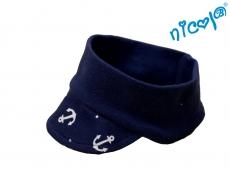 Dojčenská čelenka so šiltom Nicol Sailor - tm. modrý
