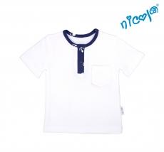 Detské bavlnené tričko krátky rukáv Nicol, Sailor - biele, veľ. 122