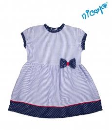 Dojčenské šaty Nicol, Sailor - granátové/prúžky, veľ. 74