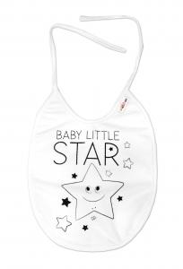 Nepromokavý podbradník, 24 x 23 cm Baby Nellys veľký Baby Little Star - biela