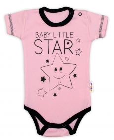 Body krátky rukáv Baby Nellys, Baby Little Star - ružové, veľ. 74