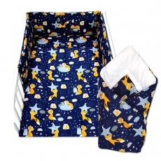 3-dielna sada mantinel s obliečkami + zavinovačka zadarmo - Liška a hvězdy, 135 x 100 cm