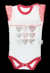Dojčenské body na ramienka Mamatti Love Girl -biela/červená