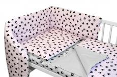 3-dielna sada mantinel s obliečkami Baby Nellys, Minnie, ružová/šedá, 135 x 100