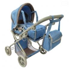 Hlboký kočík pre bábiky Euro Baby 2v1 - modrý
