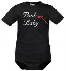 Body krátký rukáv Dejna Punk Baby - černé, veľ. 80