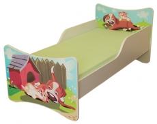 NELLYS Detská posteľ so zábranou Psík a mačička - 160x80 cm