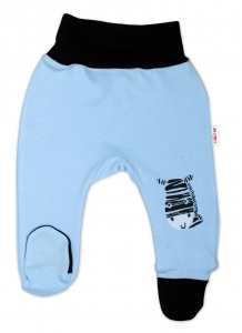 Baby Nellys Dojčenské polodupačky, modré - Zebra, veľ. 80