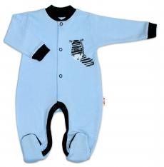 Baby Nellys Bavlnený overal Zebra - modrý, veľ. 80