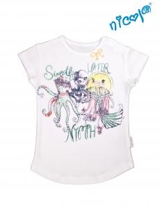 Bavlnené tričko Nicol, Morská víla - krátky rukáv, biele, veľ. 122