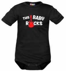 Body krátký rukáv Dejna This Baby Rock - čierne, veľ. 80