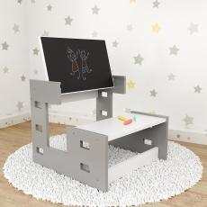Nellys drevený multifunkčný stolík s tabuľou 2v1 - sivý