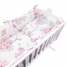 7-dielna súprava do kolísky Baby Nellys, Plameniak - růžový