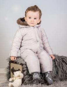 Kombinéza s kapucňou a kožušinkou Baby Nellys ®prošívaná, bez chodidiel - sivá, veľ. 80