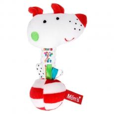 Hencz Toys Edukačná hrkálka psík Momsík - bielo / červený
