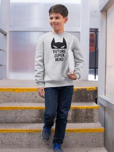 KIDSBEE Štýlová detská chlapčenská mikina Super Hero - sv. sivá, veľ. 116