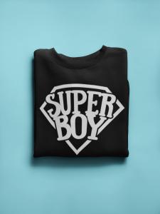 KIDSBEE Štýlová detská chlapčenská mikina Super Boy - čierna, veľ. 122