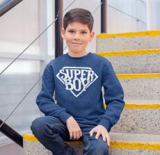 KIDSBEE Štýlová detská chlapčenská mikina Super Boy - tm. modrá, veľ. 134