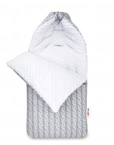 Bavlnený fusak Baby Nellys, minky, Pletený cop, 45 x 95 cm - šedý/minky biela