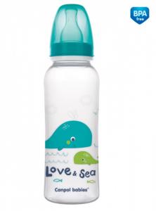 Canpol babies Fľaštička s potlačou 250 ml Love & Sea - tyrkysová