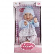 Bábika miminko tvrdé telo ve svetríku, 42cm