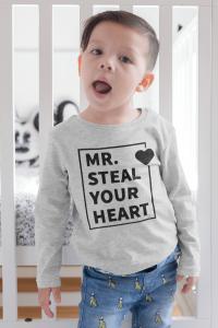 KIDSBEE Chlapčenské  bavlnené tričko MR. Steal your heart - sv. sivé veľ. 116