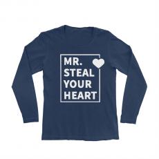 KIDSBEE Chlapčenské  bavlnené tričko MR. Steal your heart - granátové, veľ. 134