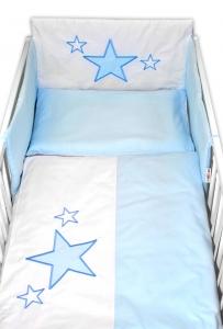 Baby Nellys 5-dielna súprava do postieľky Baby Stars - modrá, veľ. 135x100 cm