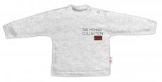 Baby Nellys Bavlnené tričko dlhý rukáv Monkey - sv. sivý melírek, veľ. 86