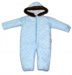 Kombinéza s kapucňou a kožušinkou Baby Nellys ®prošívaná, bez šlapie - sv. modrá, veľ. 80
