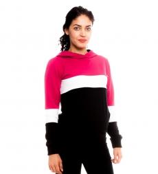 Be Maamaa Tehotenské, dojčiace tričko/mikina Gladys, čierno-bielo-růžová, veľ. L