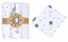Mamo-Tato mušelínové plienky 3ks + žinka zadarmo - puntíčky, listy, hvězdičky