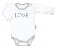 Baby Nellys Body dlhý rukáv Love - biely, veľ. 74