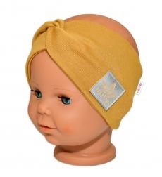 Baby Nellys Hand Made Bavlnená čelenka - dvojvrstvová, horčicová, 1-3roky