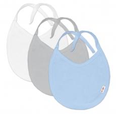 Baby Nellys Dojčenská chlapčenská sada podbradníkov  BASIC - modrá, sivá, biela - 3 ks